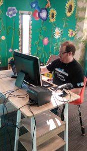 Joey working his IT magic