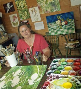 female artists in her studio
