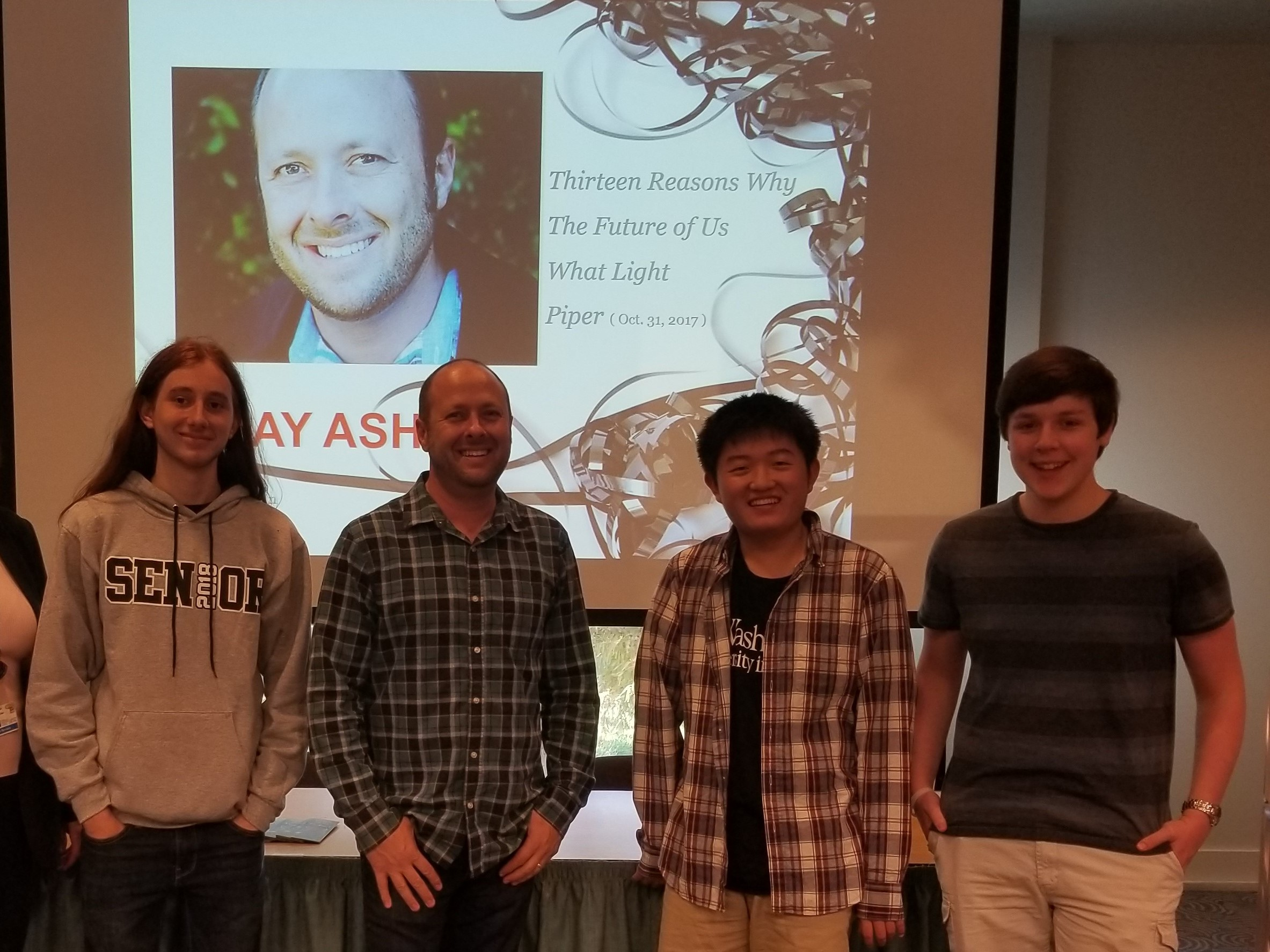 Teen Advisory Board Members meeting Jay Asher