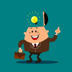 Business man having a lightbulb moment