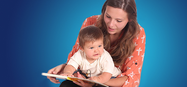 Mother and child reading together