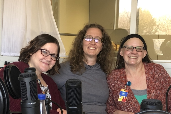 Miranda Ericsson, Zan Popp and Lissa Staley in the podcast studio at the Topeka and Shawnee County Public Library