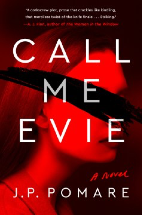 book cover of Call Me Evie - a red photo of a young woman with a black mark over the photo