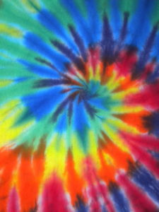Close up photo of the finished result of using the Spiral Tie-Dye technique.