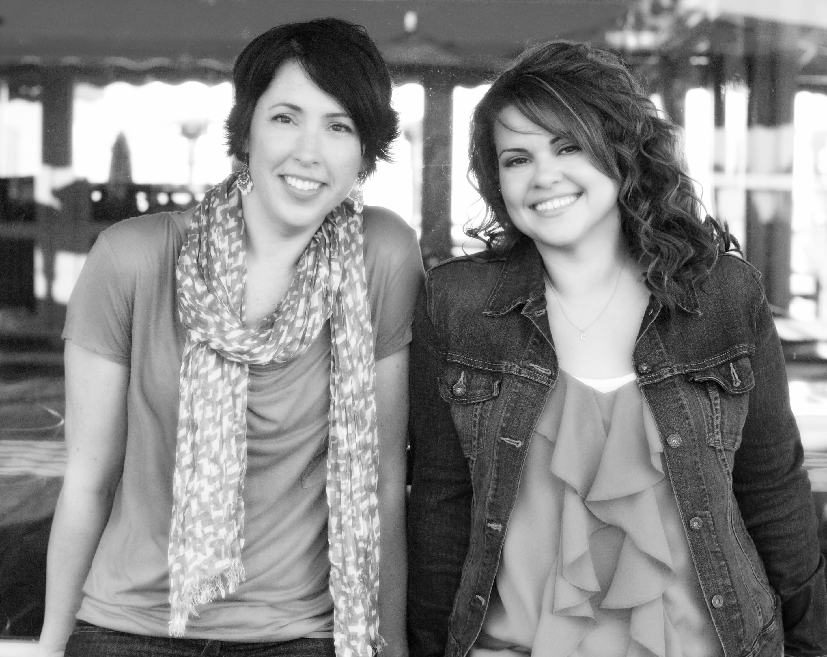 black and white photo of Lauren Billings and Christina Hobbs