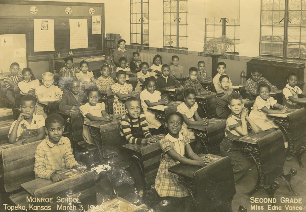 photo of second graders at desks in Topeka's Monroe School in 1940s