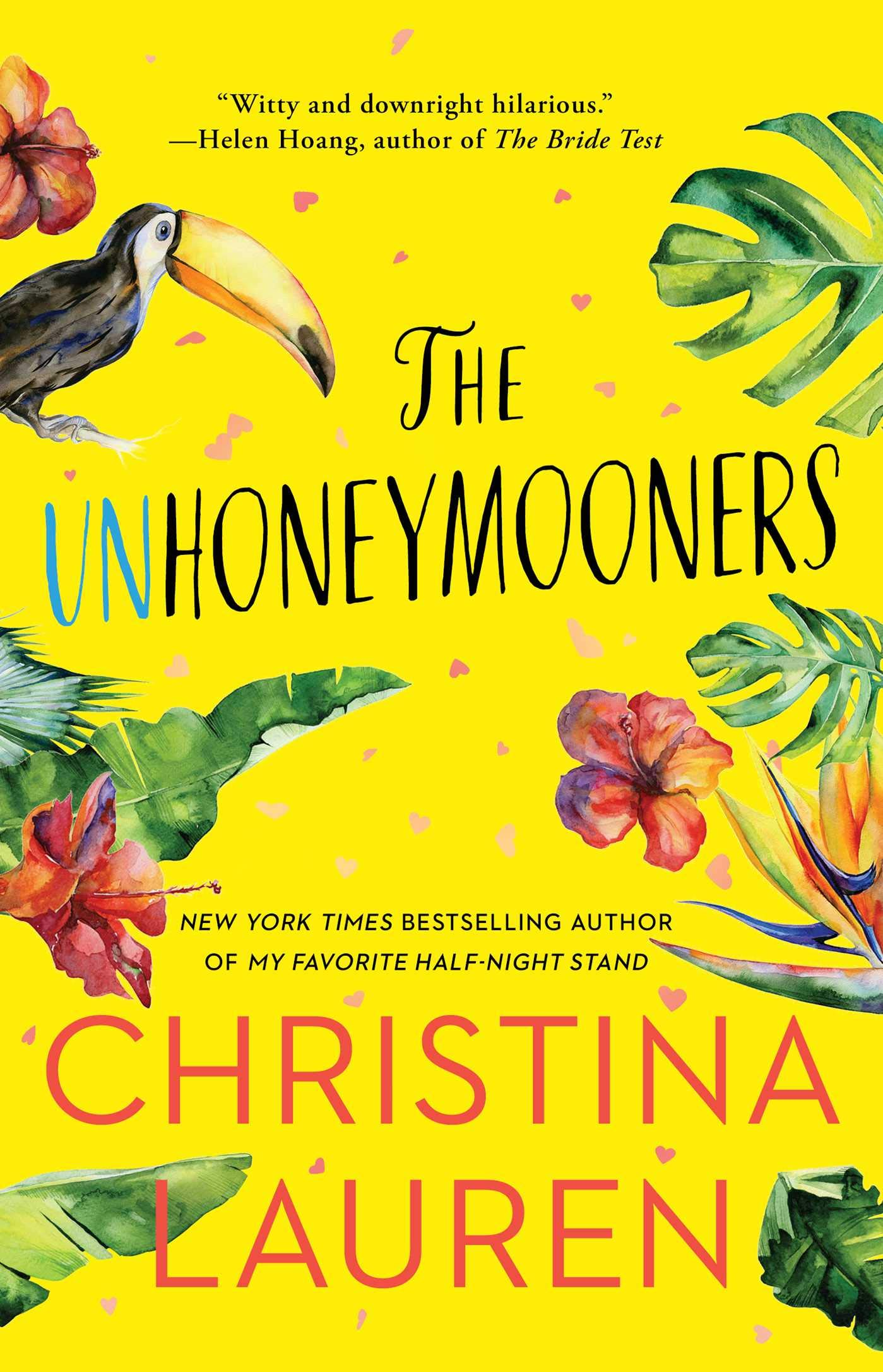 Unhoneymooners book cover with tropical flowers and a toucan