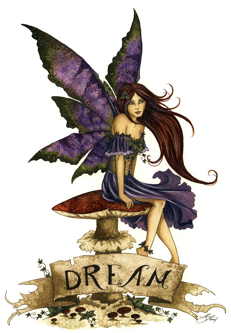 Line drawing with watercolor of modern style fairy with purple wings and long dark hair sitting on a mushroom.