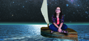 girl in a wooden boat looking at a starry sky
