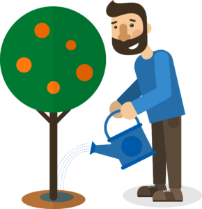 graphic of man watering growing plant