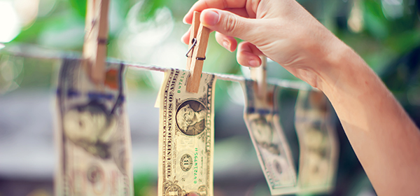 money on a clothesline