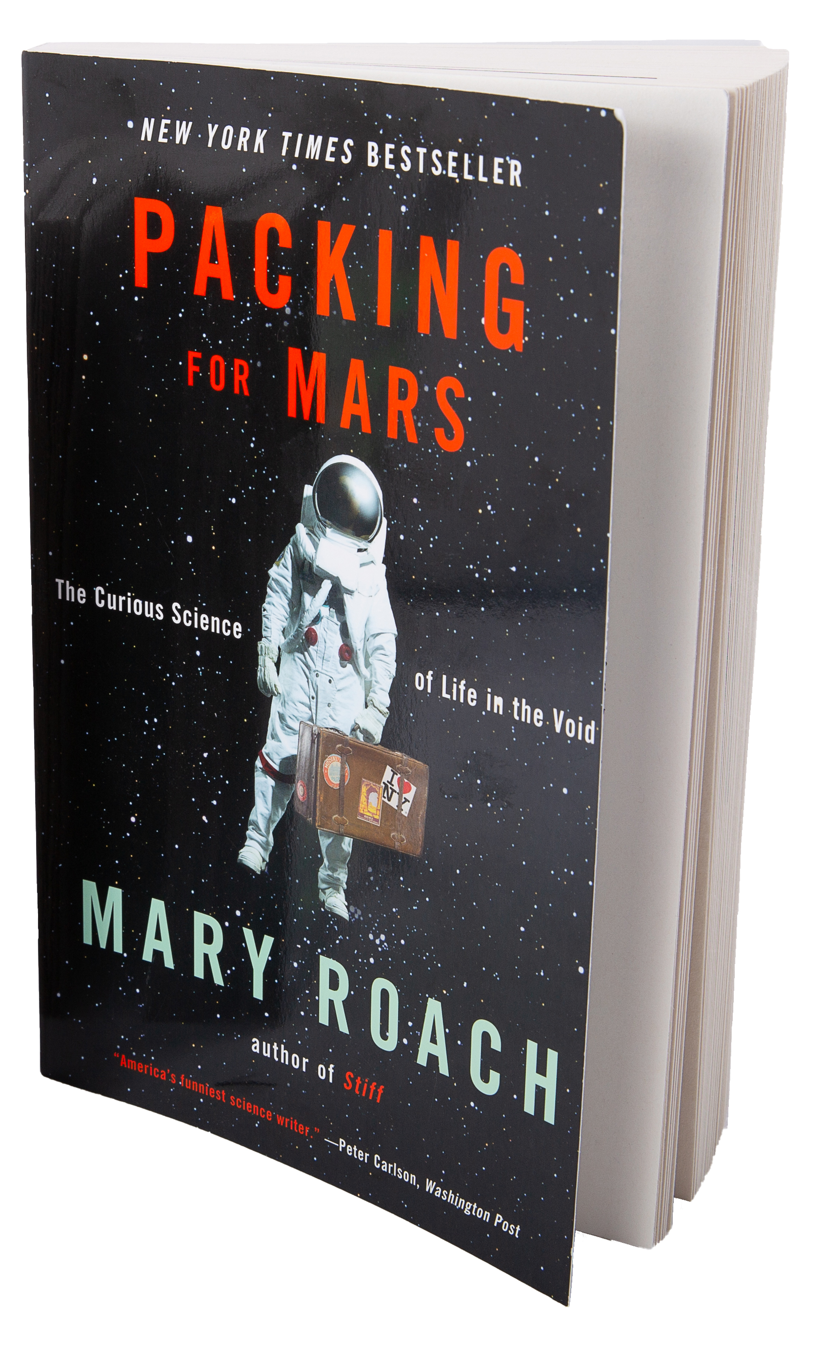Book cover of Packing for Mars an astronaut with a suitcase