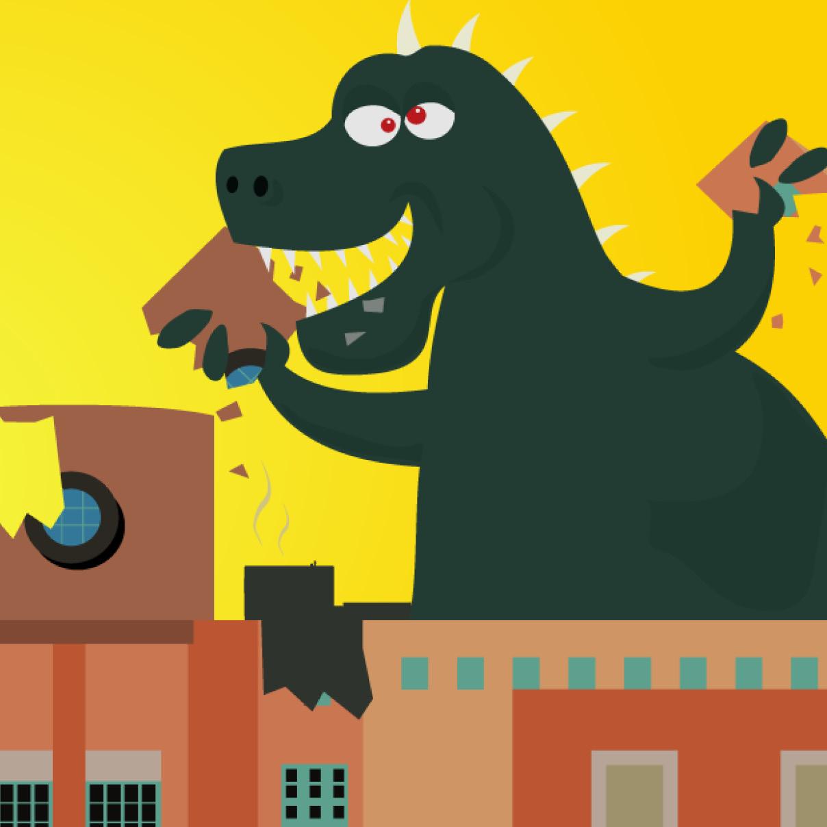 Cartoon of Godzilla type creature eating the library