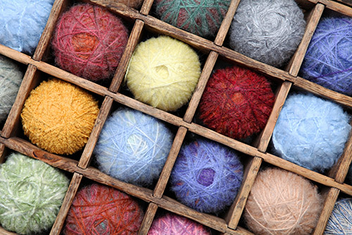 Image of colorful wool and mohair yarn collection.