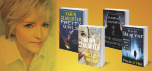 photo of Karin Slaughter and her books