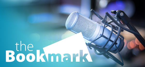 The Bookmark logo with Microphone Background
