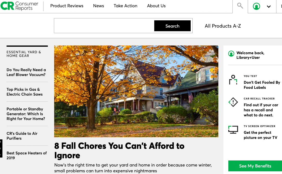 Consumer Reports screenshot