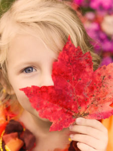 Girl Posing with Leaf