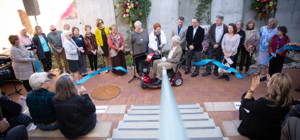 Ribbon cutting of Claire's Courtyard