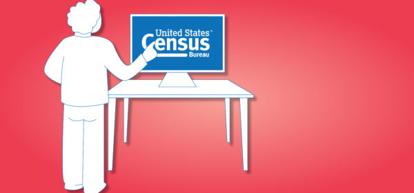 drawing of a person at a computer on the census website