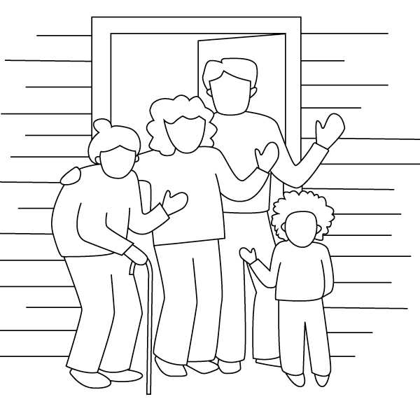 line drawing of a family