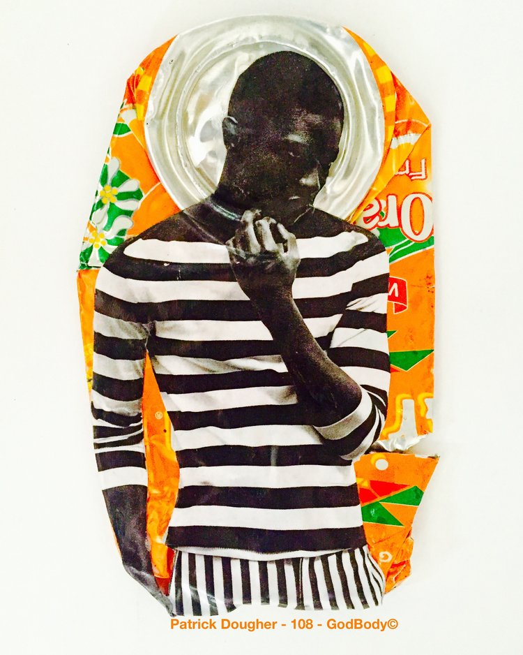 Found Object collage using colorful soda pop can with black and white graphic of African youth