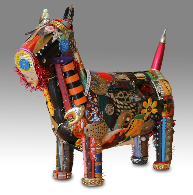 Found Object sculpture of Scottie Dog using metallic and plastic objects