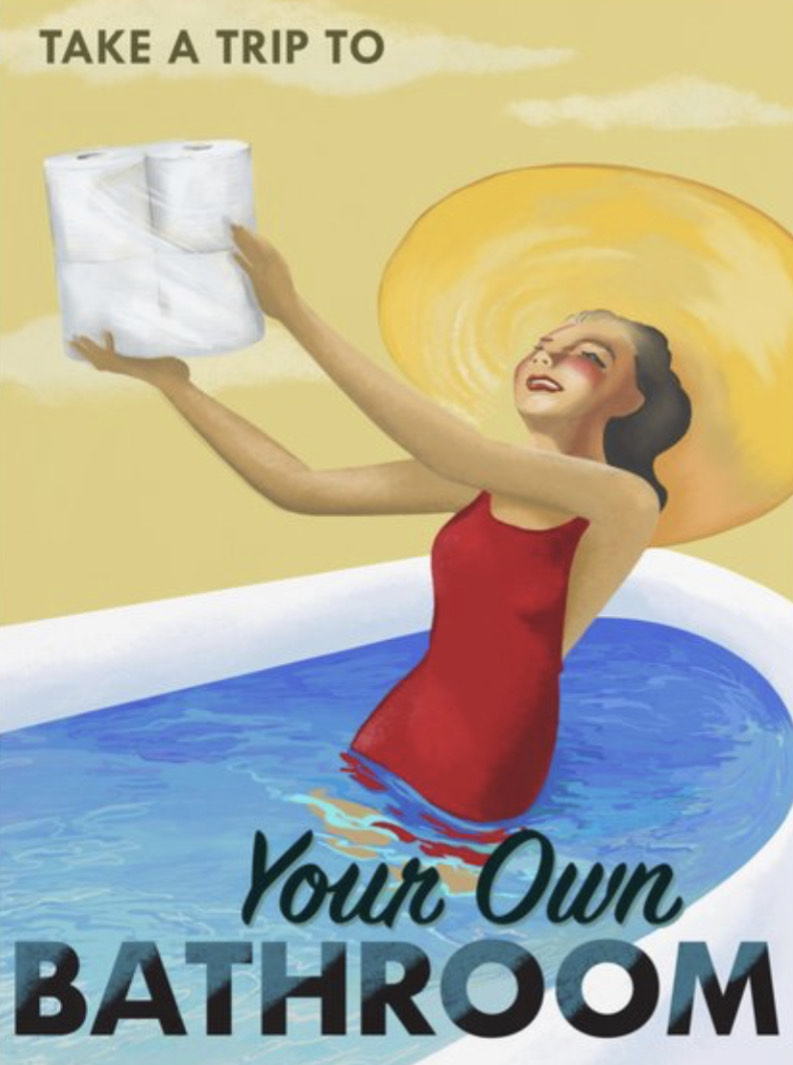 drawing of a woman in a bathing suit in a tub holding toilet paper
