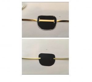 close-up of how to thread string through pirate eye patch
