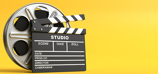 Film reel with clapperboard