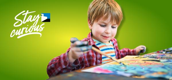 preschool boy painting