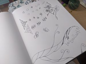 Julie's art journal geometric and floral doodles in black and white ink