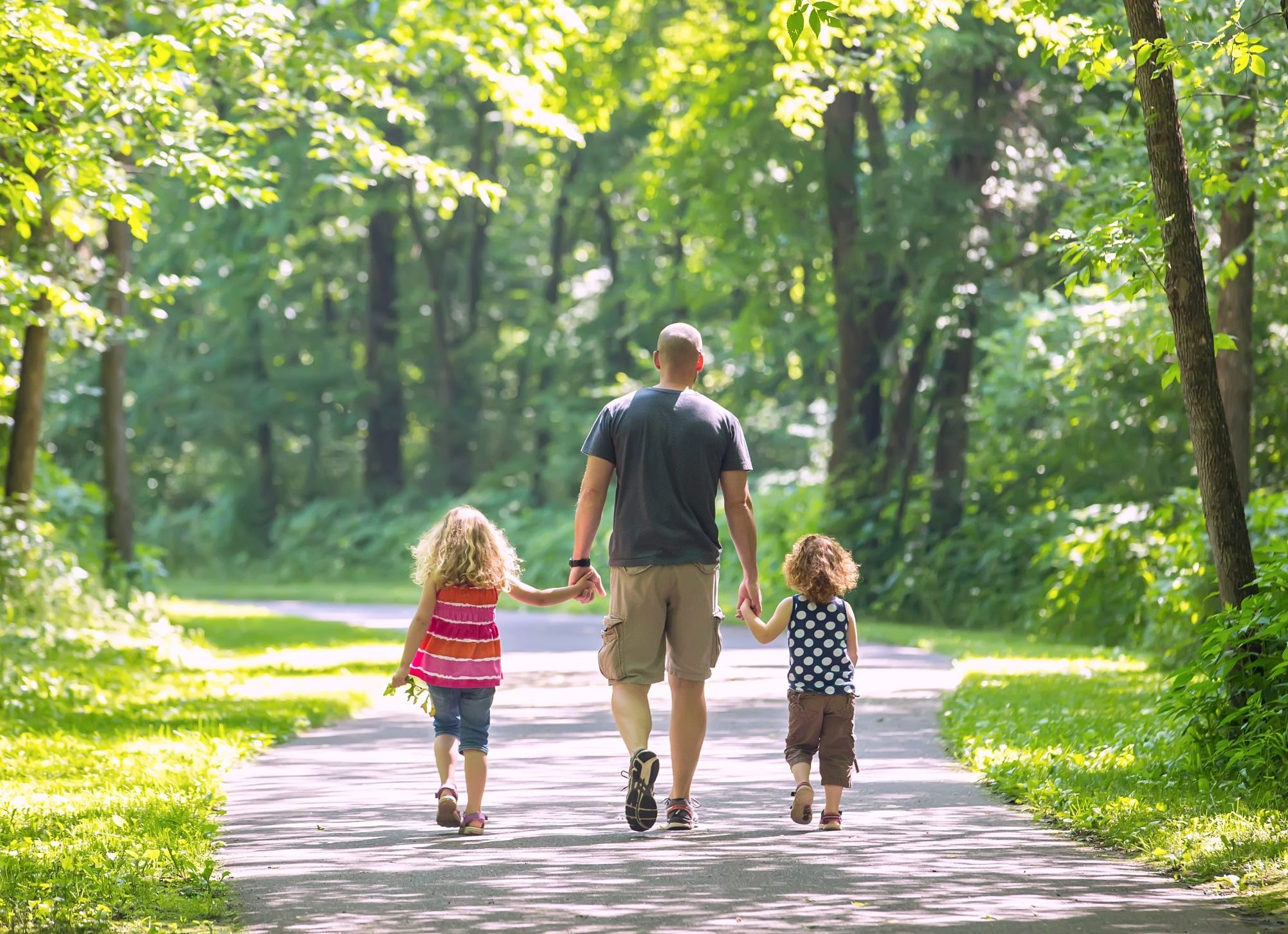 Rear view of a father and his two young daughters going for a walk on a paved trail through the wooded park. The three are walking in a row holding hands with each other. Sunlight is coming through the open spaces, so the trail is partially shaded and partially in sunlight.