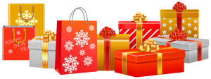 cartoon graphic of red, gold and white holiday present boxes and bags