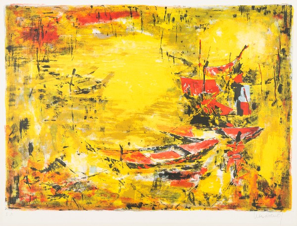 lithograph with red boats and yellow background