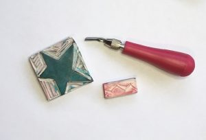 linocut tool and eraser stamps
