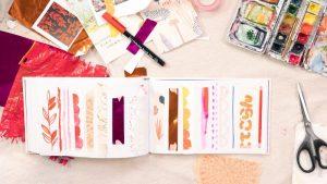 sketchbook and art supplies