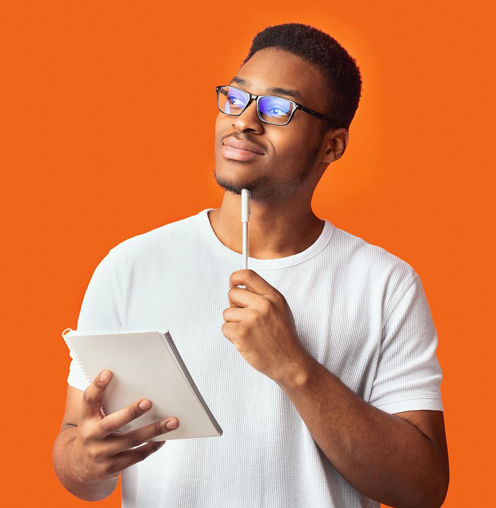 man thinking orange background