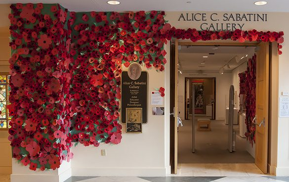 red poppies around gallery entrance