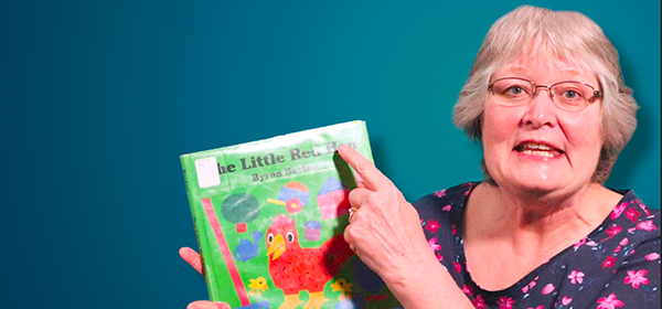 Joyce with Little Red Hen book