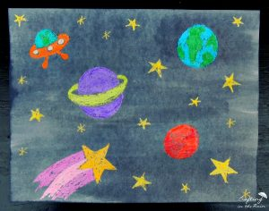 Crayon resistant space drawing