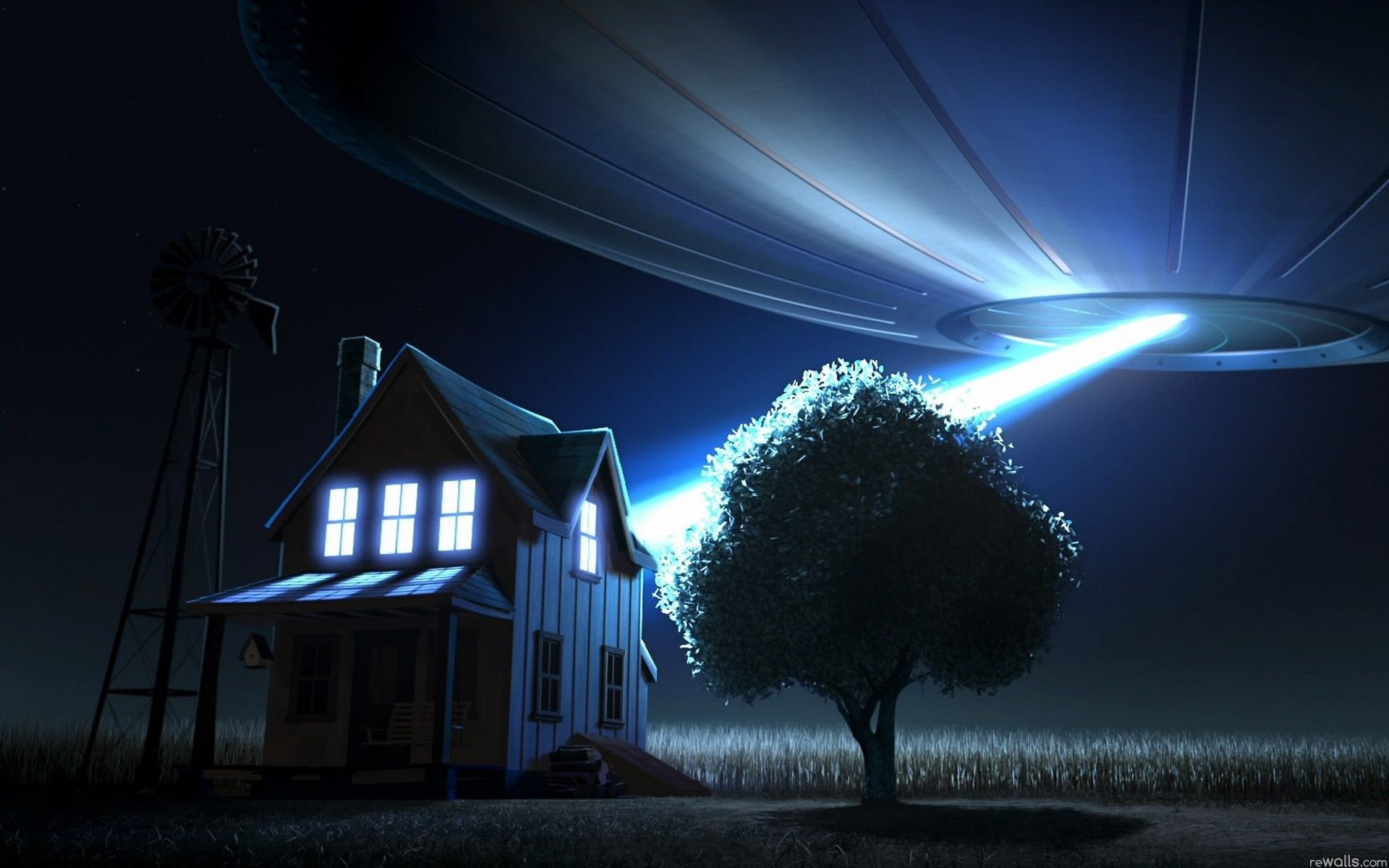A house in a field is shown at night with a UFO behind it, beaming light into the house's windows.