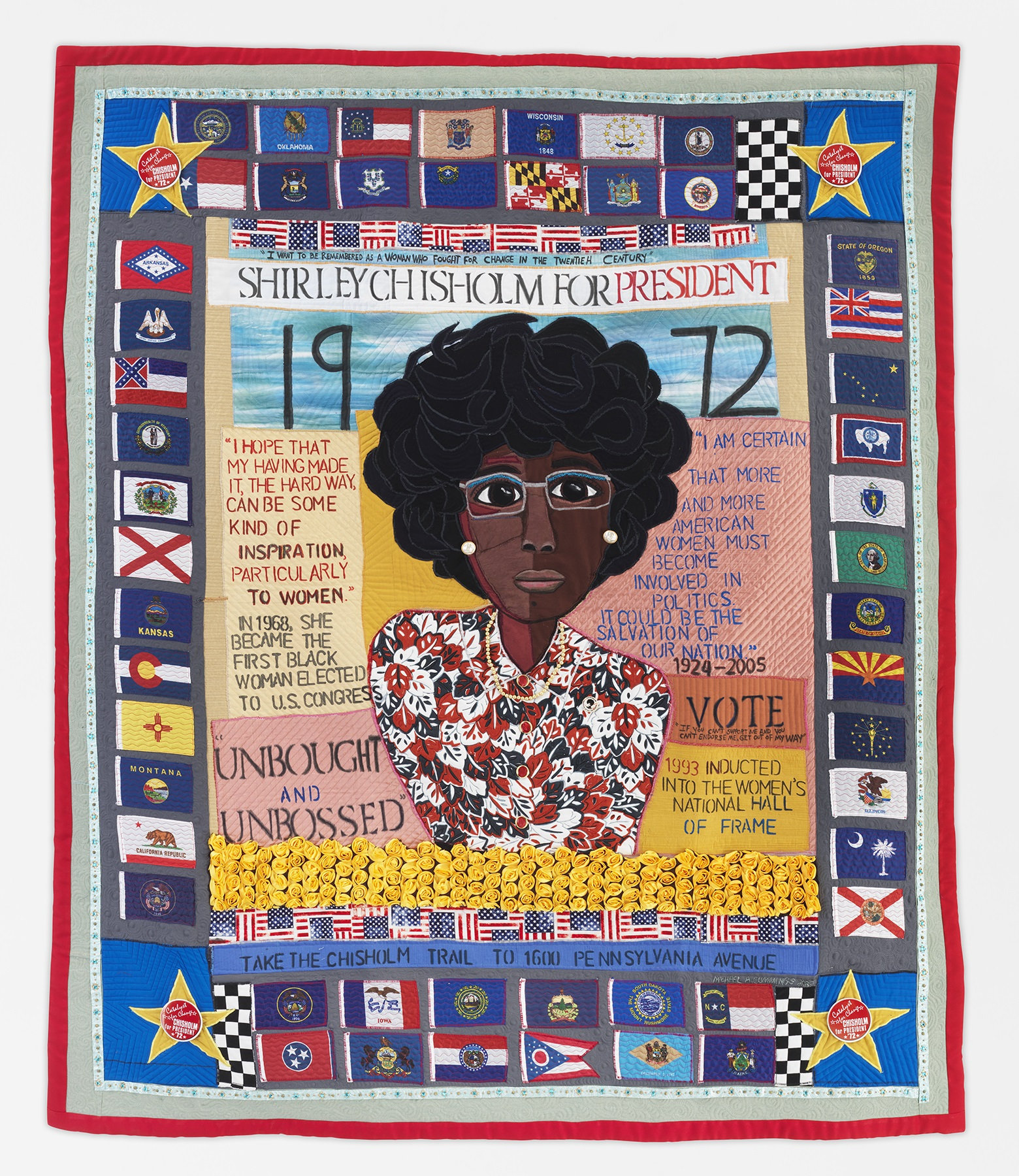 Shirley Chisholm Quilt with text about her political acheivements