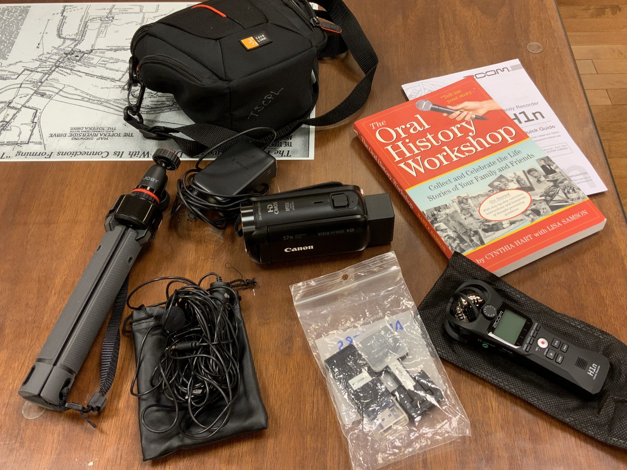 Shows the contents of the Libraries Oral History Kit
