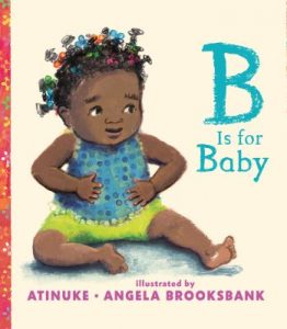 B is for Baby book cover featuring a baby with Bantu knots wearing a blue tank top and green shorts