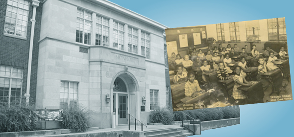 Monroe School and picture of 1949 second grade class