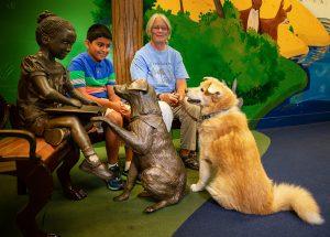 Ruben, Lee and Waverly at dog bench